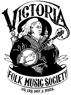 Our Logo: Queen Victoria playing a banjo.